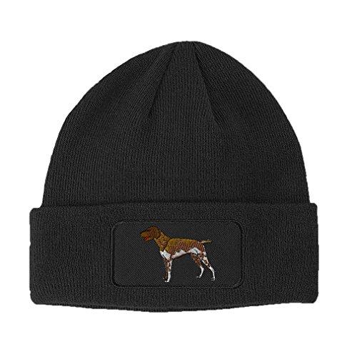 German Shorthair Pointer Dog #1 Sewed Unisex Adult Acrylic Patch Beanie Warm Hat - Dark Grey, One Size