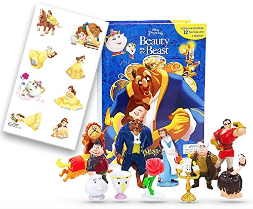 Disney Beauty And The Beast Action Figures Playset Toys and Story Book With 8 Temporary Tattoos Set