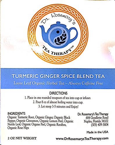 Turmeric Ginger Spice Blend Herbal Tea - Organic Caffeine & Gluten Free Loose Leaf Herbal Tea by Dr. Rosemary's Tea Therapy