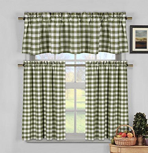 - Home Maison Kingston Plaid Gingham Checkered Cotton Blend Kitchen 3 Piece Window Curtain Tier & Valance Set, 2 29 x 36 & One 58 x 15, Sage