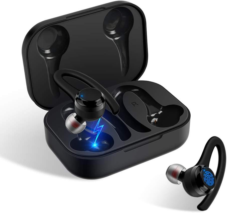 True Wireless Earbuds Bluetooth 5.0 Headphones CRSCN IPX7 Waterproof Sport Earphones with Charging Case 25H Playtime Built-in Mic in Ear Earphones TWS Deep Stereo Bass with Over-Ear Earhook (Black)