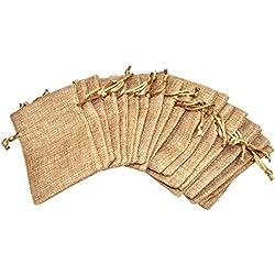 Mandala Crafts 20 Plain Jute Drawstring Burlap Gift Bags Pouches for Soap Coffee Wedding Party Favor (Elegant Cream, 4 X 6 Inches)