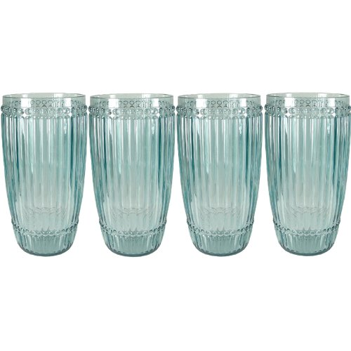 Milano Glassware - Le Cadeaux Milano 4 Piece Highball Set Teal Shatter Proof Glassware