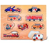 Puzzled Transportation Peg Puzzle - City Vehicle Cars Wood Puzzle Game, Easy to Play Toy Puzzle, Fun Shape Matching Peg Toy, Educational Brain Teaser Game Wooden Puzzle & Learning Activity for Kids