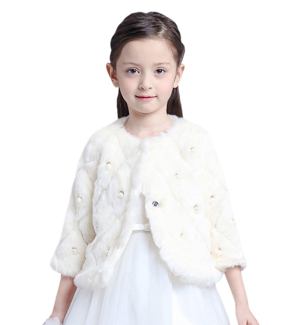Kid Girls' Pearl Beaded Diamond Faux Fur Wedding Party Wrap Shawl Coat White 2-4