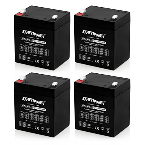 ((4 Pack) ExpertPower 12V 5Ah Home Alarm Battery With F1 Terminals ||)
