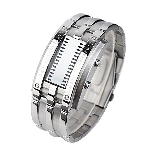 Bozlun 0926 Stylish Binary Watches -LED and Waterproof - Silver (Decimal Watch)