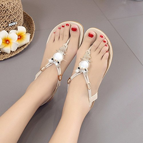 Flat Women Folk Beige Flops Beach Bohemia Flip Sandals Gemstones Antiskid Vintage Ladies Thongs Ad0qvA