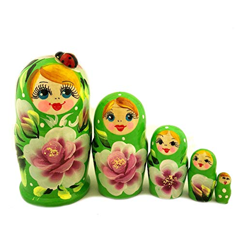 World Gifts 4 x 2-1/2 Inch Hand Painted Green Matryoshka 5 Piece Nesting Doll, Largest features a Lady ()