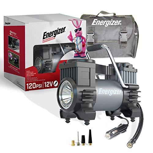 Energizer Air Compressor Portable Tire Inflator, 12V DC Air Pump for Car Tires with Digital Tire Pressure Gauge, 120 Max…