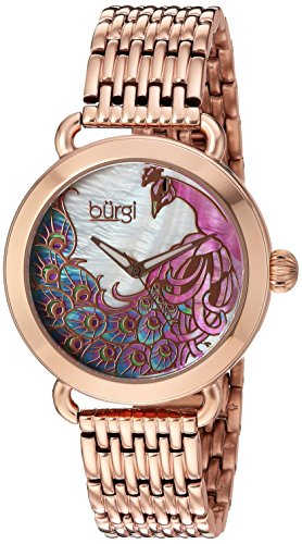 Burgi Women's Quartz Stainless Steel Casual Watch, Color:Rose Gold-Toned (Model: BUR174RG)