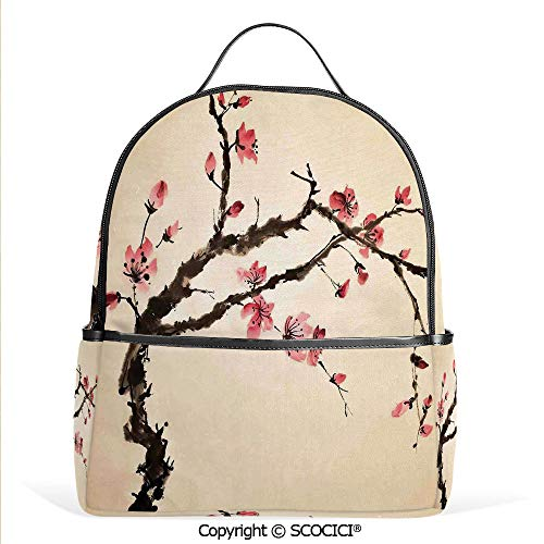 Adorable Figural - 3D Printed Pattern Backpack Traditional Chinese Paint of Figural Tree with Details Brushstroke Effects Print,Pink Brown,Adorable Funny Personalized Graphics