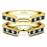1/5 ct. Diamonds (G-H,I2-I3) and Sapphire Genuine Sapphire Channel Set Cathedral Style Ring Guard in Yellow Plated Sterling Silver (0.2 ct. twt.)