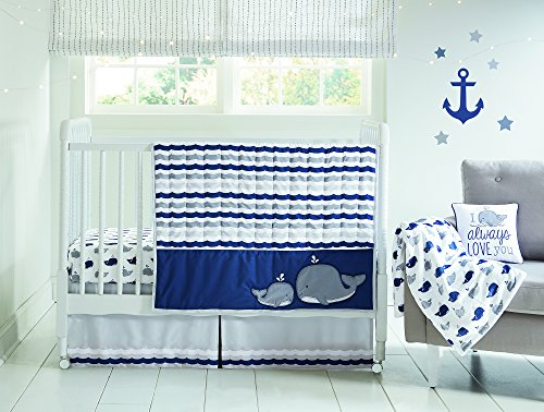 Wendy Bellissimo 4pc Nursery Bedding Baby Crib Bedding Set - Whale in Navy - Embroidered Crib Bedding