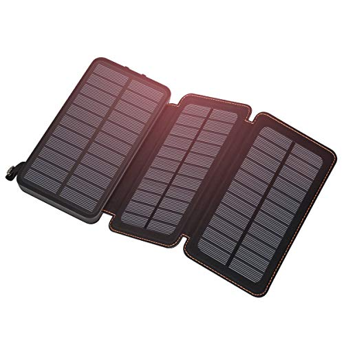 - Feelle Solar Charger 24000mAh, Solar Power Bank with 3 Solar Panels Portable Phone Chargers for Smart Phones, Tablets and More