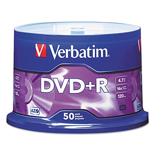 Verbatim 95037 DVD+R Discs, 4.7GB, 16x, Spindle, Matte Silver, 50/Pack by Verbatim
