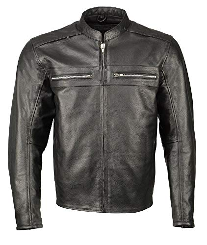 M Boss Apparel BOS11509 Mens Black Armored Leather Cafe Racer Jacket - Large (Jacket Leather Boss)