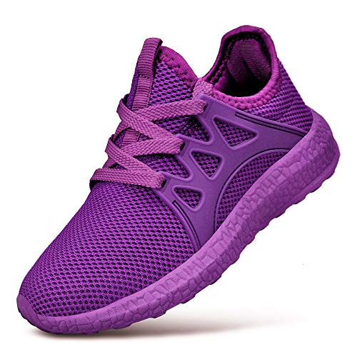 Feetmat Boys Shoes Grils Fashion Sneakers Mesh Lightweight Breathable Kids Walking Tennis Shoes Purple 3.5 (Girls Purple Tennis Shoes)