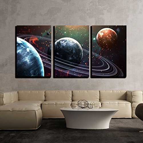 Space Scene - wall26 - 3 Piece Canvas Wall Art - Universe Scene with Planets, Stars and Galaxies in Outer Space - Modern Home Decor Stretched and Framed Ready to Hang - 24