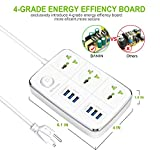 BAVIN 3-Outlet Power Strip with USB Charging 6 Ports 5.4A/27W, Universal(110 V to 250 V) 10A/2500W, 5Ft Heavy Duty Extension Cord (white)