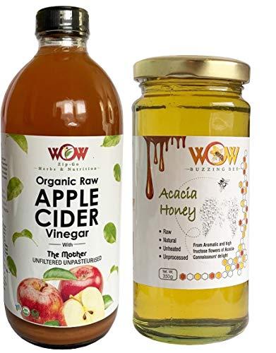 WOW ZIP – GO HERBS & NUTRITION Organic Apple Cider Vinegar (500 ml) and Honey (350 g)