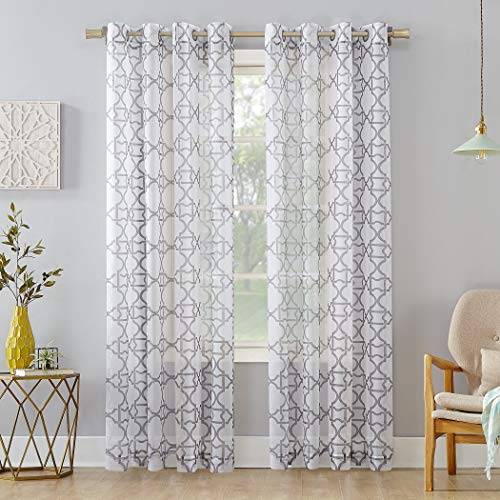 - No. 918 Powell Trellis Sheer Grommet Curtain Panel, 59