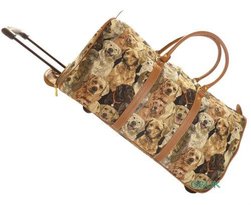 Tapisserie-Reisetasche für Wochenendreisen/Flug/Übernachtung mit Rollen und einziehbarem Henkel (Hunden) - Gobelin-Stil