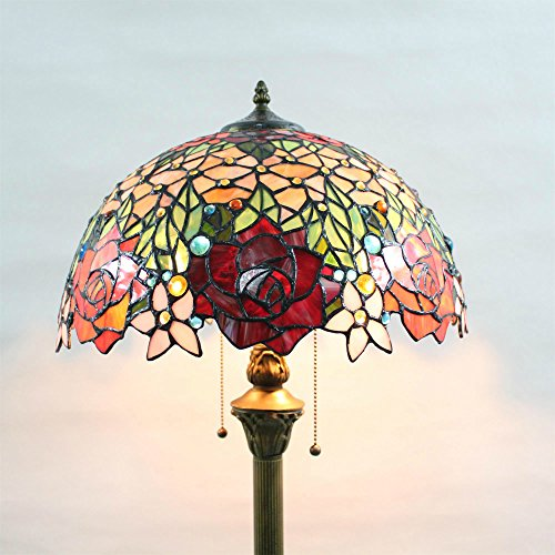 Tiffany 16-Inch Rose Bead European Pastoral Style Elegant Luxury Creative Handmade Stained Glass Tiffany Floor Lamp