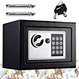 Digital Safe 4.6L Security Cash Jewelry Box Solid Steel Combination Lock With Key Freestanding Wall Floor Mounted 170 * 230 * 170mm, Black