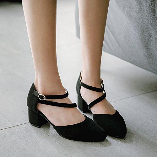 satén con de hueco seguir sandalias Verano Baotou black a damas puntas nCxaPPpqfw