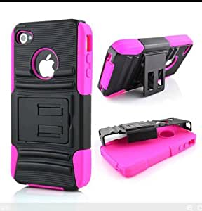 Ezydigital CBCarryberry Hybrid Alterable Stand Hard Shell Back Case Fit For iPhone 4 4S,Hot Pink