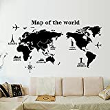 COFFLED Professional Large World Map Wall Decal Stickers,Big and Precise Wall Decoration for Office or Sitting Room