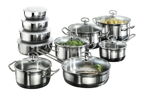 Karcher Jasmin Cookware Set with Pan, Stainless Steel, 20-Piece with glass...