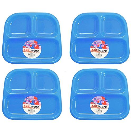 Zak Designs Zak!ware Kids 3-Section Plate, BPA-Free Plastic, 4-Pack (Blue)