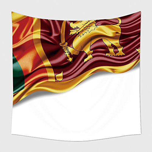 Sri Lanka Buddhist Flag (Home Decor Tapestry Wall Hanging Sri Lanka Flag Of Silk With Copyspace For Your Text Or Images And White Background for Bedroom Living Room Dorm)