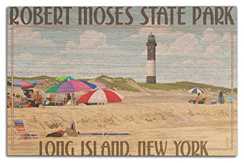 Lantern Press Robert Moses State Park, Long Island, New York (10x15 Wood Wall Sign, Wall Decor Ready to Hang)