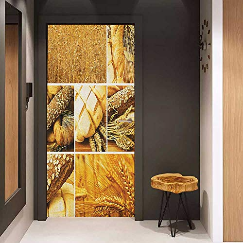 Onefzc Photo Wall Decal Harvest Collage Story Wheat Various Types of Bread Baking Culture Different Crusts for Home Decor W32 x H80 Earth Yellow Brown
