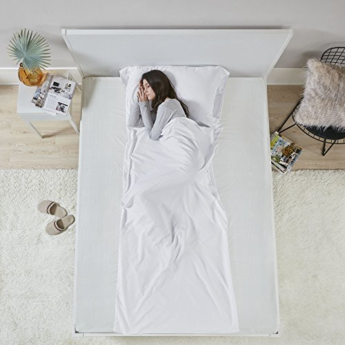 (Hypoallergenic Sleeping Bag Liner Sheet - Ultra Light Compact Coolmax Anti Bug/Germs Sleeping Sack with Pillow Pocket and Travel Pouch - White - Traveling, Camping, Hiking, Hostel and Backpacking)