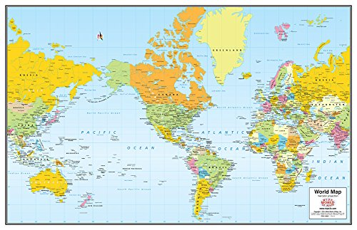 Download Colorful Political Mercator Projection World Desk Map Paper/Non-Laminated PDF