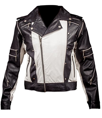 F&H Boy's Michael Jackson 1984 Pepsi Ad Commercial Genuine Leather Jacket M White -