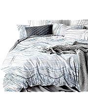 Aqua Turquoise Quilt Cover Set, Super Soft 3 Piece Duvet Cover Set Includes 2 Pillowcases(King/Queen Size Options)