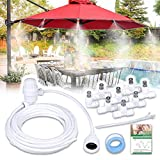 """HOMENOTE Misting Cooling System 26.2FT (8M) Misting Line + 8 Metal Mist Nozzles + a Adapter(3/4"""") Outdoor Mister + Filter for Patio Garden Greenhouse Trampoline for Water Park"""