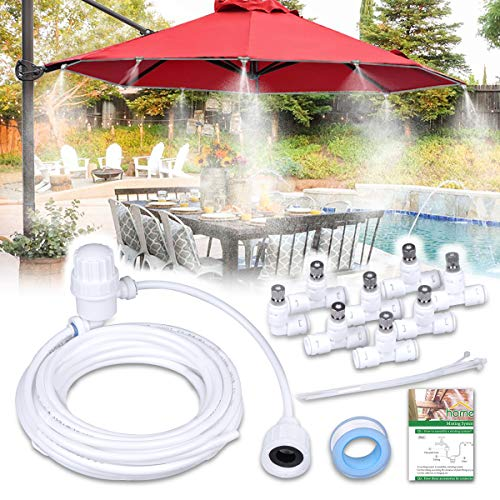 HOMENOTE Misting Cooling System 26.2FT (8M) Misting Line + 9 Brass Mist Nozzles + a Brass Adapter(3/4) Outdoor Mister for Patio Garden Greenhouse Trampoline for waterpark ()