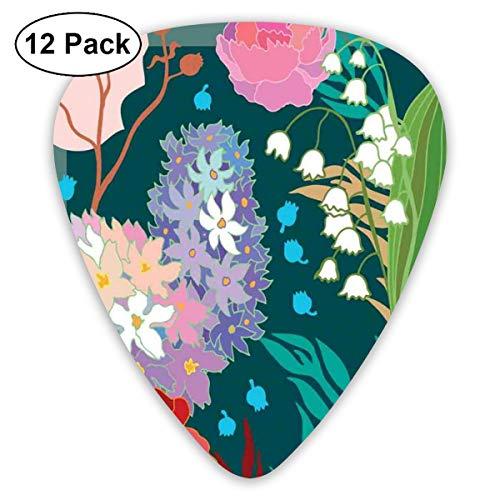 Guitar Picks 12-Pack,1950s Retro Style Flourishing Design Of Vintage Hydrangea And White Bell Flowers ()