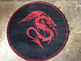 Americana Dragon Style Round Area Rug Design #133 Black (4ftx4ft.)