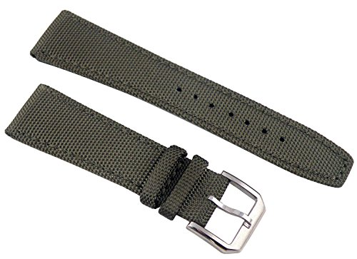 Fanmis 22mm Military Green Fabric Leather Strap Watch Band Watchband Pilot Pin Silver Buckle