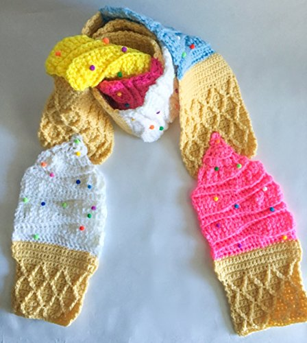 Ice cream crochet scarf with sprinkles sugar cone in the colors berry, pink, blue, white and yellow, ice cream, ice cream scarf, ice cream - Sprinkles Berry