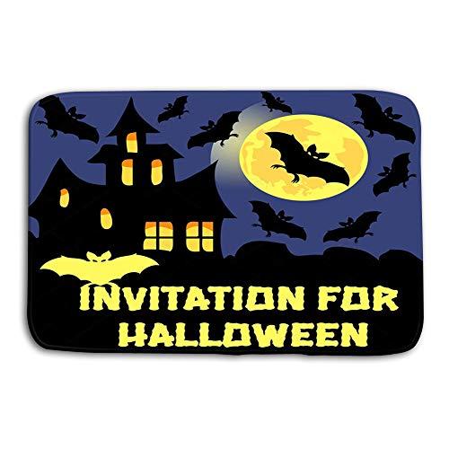 zexuandiy Print Bath Rugs Bathroom Accessories Non-Slip Doormat Floor Entryways Indoor Front 23.6 by 15.7 Inch Invitation Halloween Party Card Mix Bats Castle Moon Dark Background Dreamy -