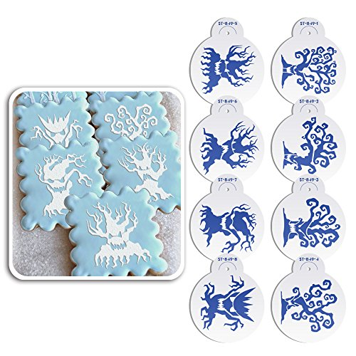 ART Kitchenware 2.76Inch 8pcs Halloween Tree Cookie Cake Stencil Set Cupcake Decoration Plastic Stencil Template Fondant Cake Decorating Tool Semi-Transparent ST-849S]()