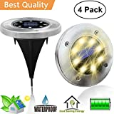 #2: Solar Ground Disk Lights,Outdoor Garden Pathway Outdoor Waterproof Underground Bright Solar In-Ground Lights With 8 LED,Illuminate The Way Home (Warm White, 4pack)